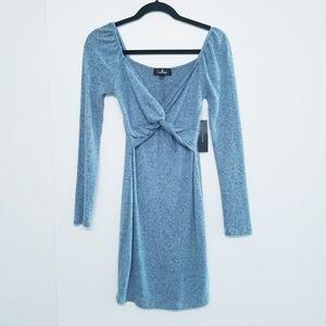 Lulu's blue sweater long sleeve dress size S NWT